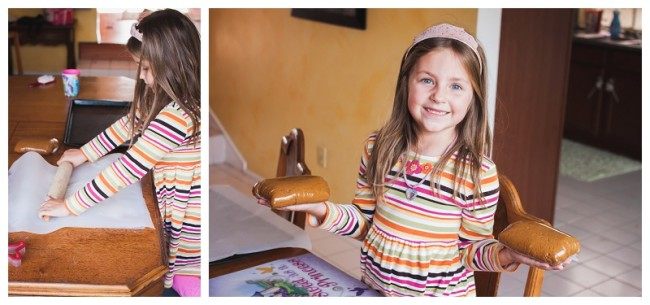 little girl making gingerbread cookies