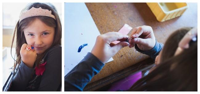 little girl making rings to wear