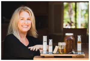 skin products with jars and funnel and headshot