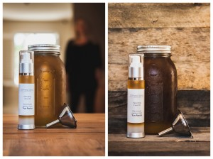 skin products with jar and funnel