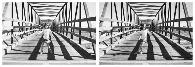little girl dancing on a trestle bridge