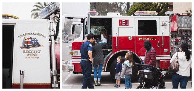 kids looking at a fire truck at the fire station