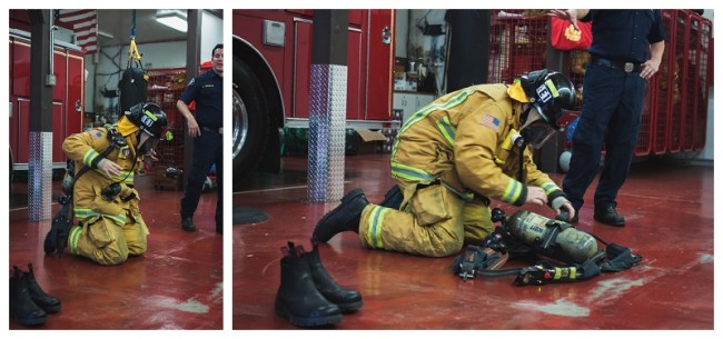 firefighter putting on his fire fighting equipment for kids to see