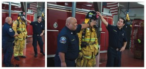firemen explaining their fire fighting uniforms