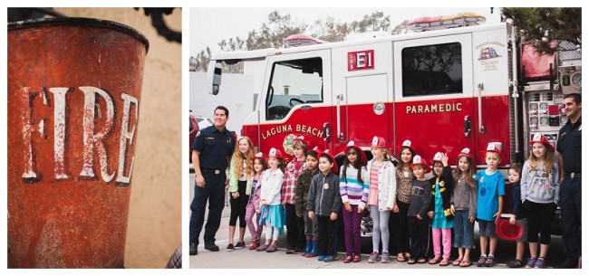 kids in front of a fire truck at the fire station